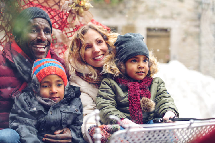 Mom, dad, and 2 children smile in a sleigh celebrating the holidays